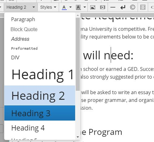 A list of headings are available in the WYSIWYG toolbar