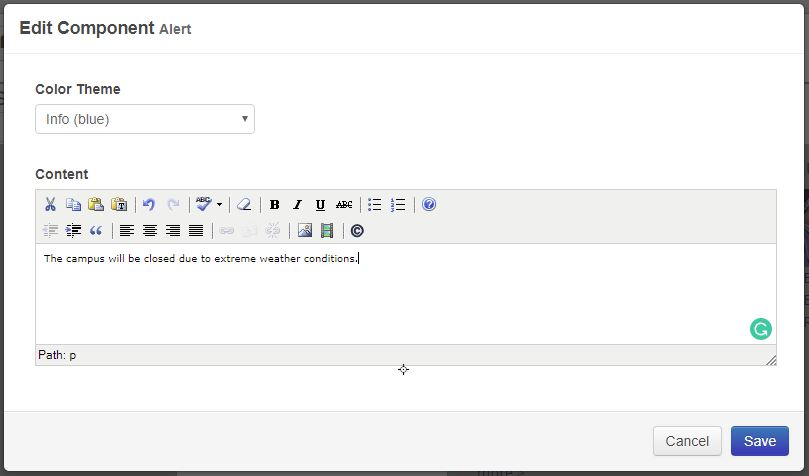 The Edit Component modal window with a dropdown for color and the text content field
