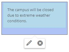 A basic alert message with example content regarding school closure