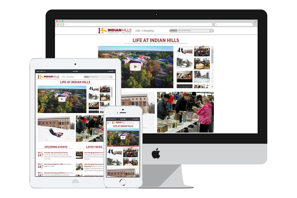 The Indian Hills Community College website is fully responsive, making it easy for students to access information from their mobile devices.